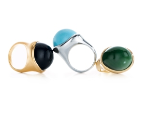 Hand-carved cabochon rings by Elsa Peretti for Tiffany & Co.Credit: Josh Haskin